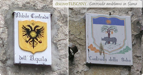 Contrada emblems on street corners in Siena
