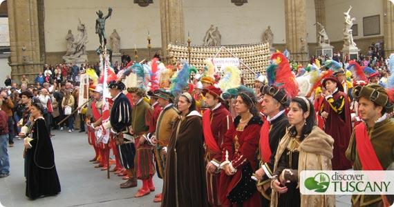 Presentation of Chianti Rufina wine to Signoria in Palazzo Vecchio