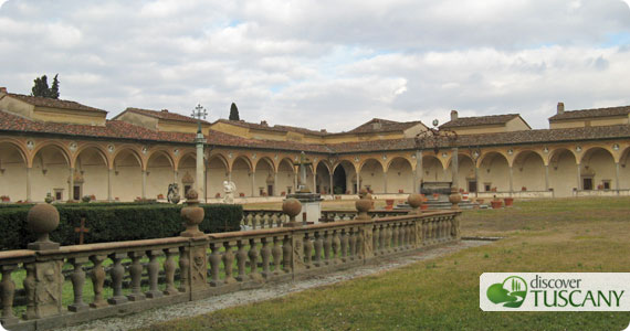 Large cloister in the Galluzzo Certosa where 18 hermitages are located