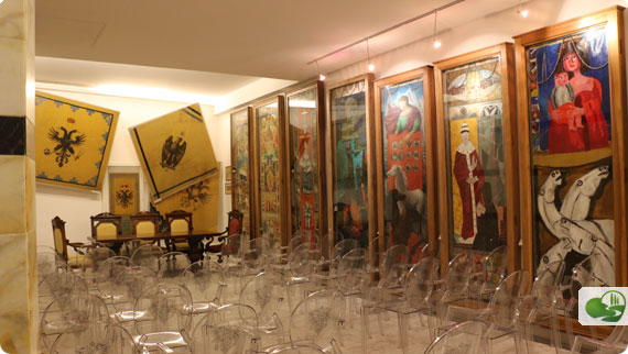 The museum for Aquila Contrada with won banners handing to one side