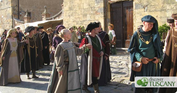 lords walking through the streets of Monteriggioni