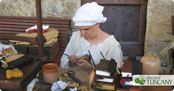 demonstration of book binding and handmade leather notebooks on sale