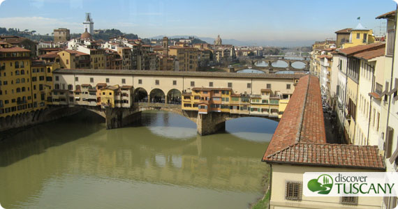 view of Ponte Vecchio from the Uffizi Gallery
