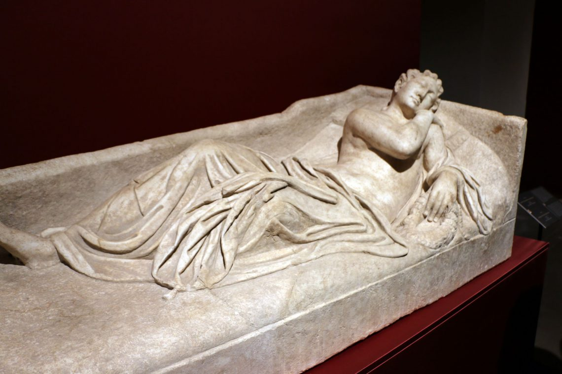 "In 2014, the US Homeland Security Investigations - Immigration and Customs Enforcement officers in New York City noticed a New York art gallery was selling a sarcophagus lid depicting this ""Sleeping Aradne"" for $4.5 million! The informed the Comando Carabieinier who discovered it has been illegally excavated in 1981, sold in two pieces to a well-known Italian art trafficker and eventually made its way to a Japanese collector. The two forces worked together to impound the lid and eventually bring it back to Italy."